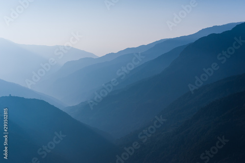 Foto op Canvas Nachtblauw Beautiful Bhutanese mountain range