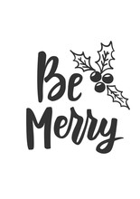 Simple Christmas Card. Hand Drawn Text And Holiday Symbols