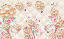 3d Illustration, Beige Background, Upholstery, Abstract Gilded Flowers With Pearls On Pink Ornamental Stems, Multi-colored Butterflies