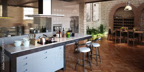 Kitchen inside the Loft Apartment - 3d visualization Wallpaper Mural