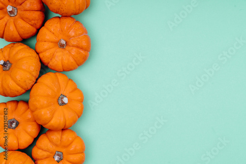 Pumpkins over neo mint background. Autumn, Halloween concept.Copy space for text. - 293507652