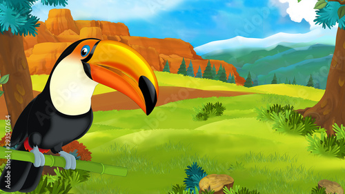mata magnetyczna cartoon scene with happy toucan sitting on some branch and looking - illustration for children