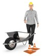3d character , woman , wheel barrow and traffic cone,s