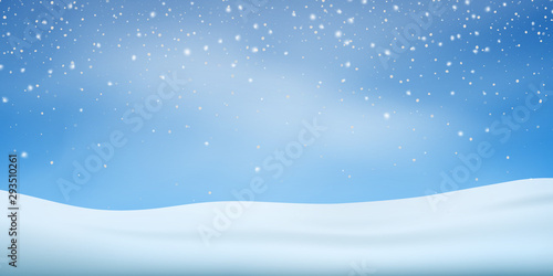 Recess Fitting Blue sky Snow background. Snowfall, snowflakes in different shapes. Christmas winter snowstorm blizzard