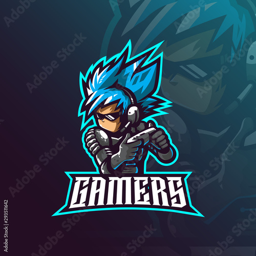 Cuadros en Lienzo gamer mascot logo design vector with modern illustration concept style for badge, emblem and tshirt printing