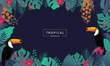 Tropical background with toucan bird ,tropical leaves and flower. Jungle exotic leaf on dark background for promotion banner design, flyer, party poster, printing and website. Vector illustration.