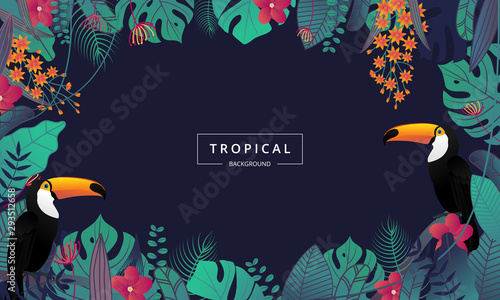 Tropical background with toucan bird ,tropical leaves and flower Canvas Print