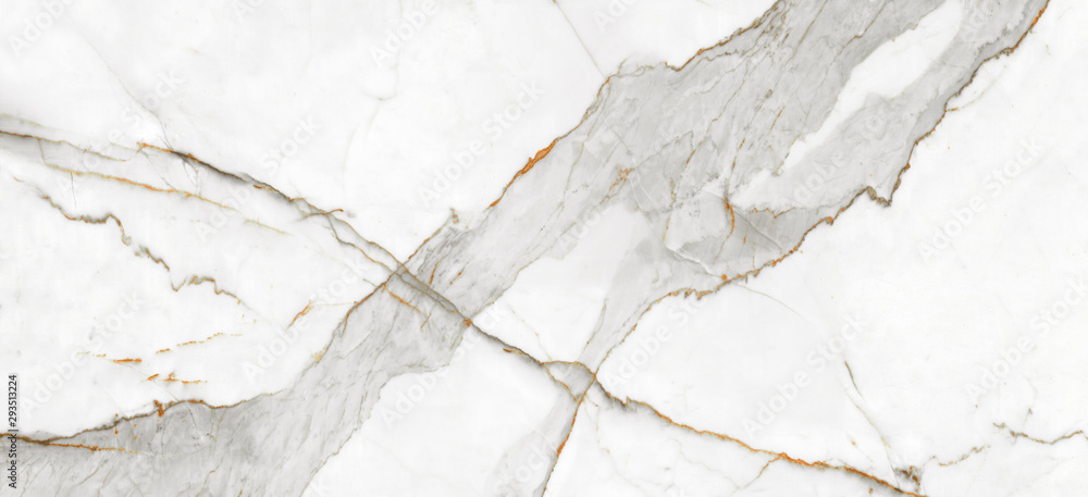 Fototapeta White Carrara Marble Texture Background With Curly Grey Colored Veins, It Can Be Used For Interior-Exterior Home Decoration and Ceramic Decorative Tile Surface, Wallpaper, Architectural Slab.