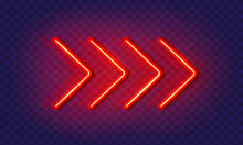 Neon Arrow Lamp Wall Sign Isolated On Transparent Background. Vector Red Power Glowing Bulb Banner, Light Line Element.