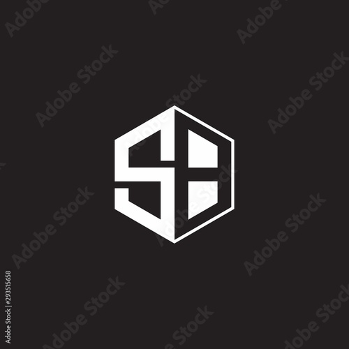 SB Logo monogram hexagon with black background negative space style Fotobehang