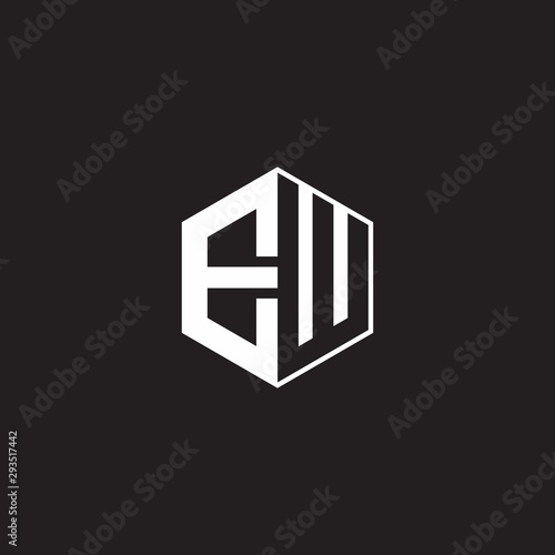 EW Logo monogram hexagon with black background negative space style - 293517442