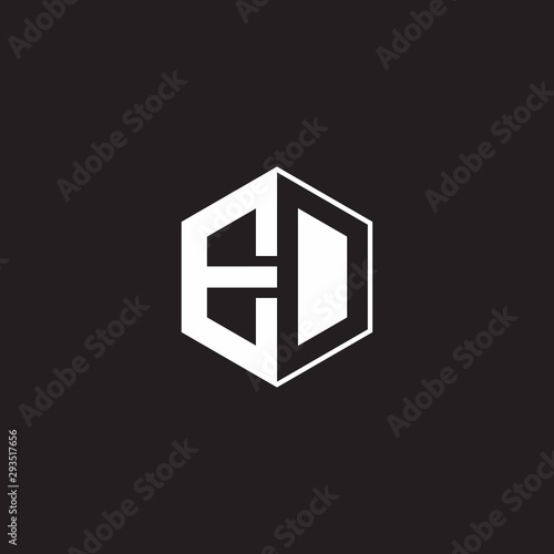 ED Logo monogram hexagon with black background negative space style Wallpaper Mural