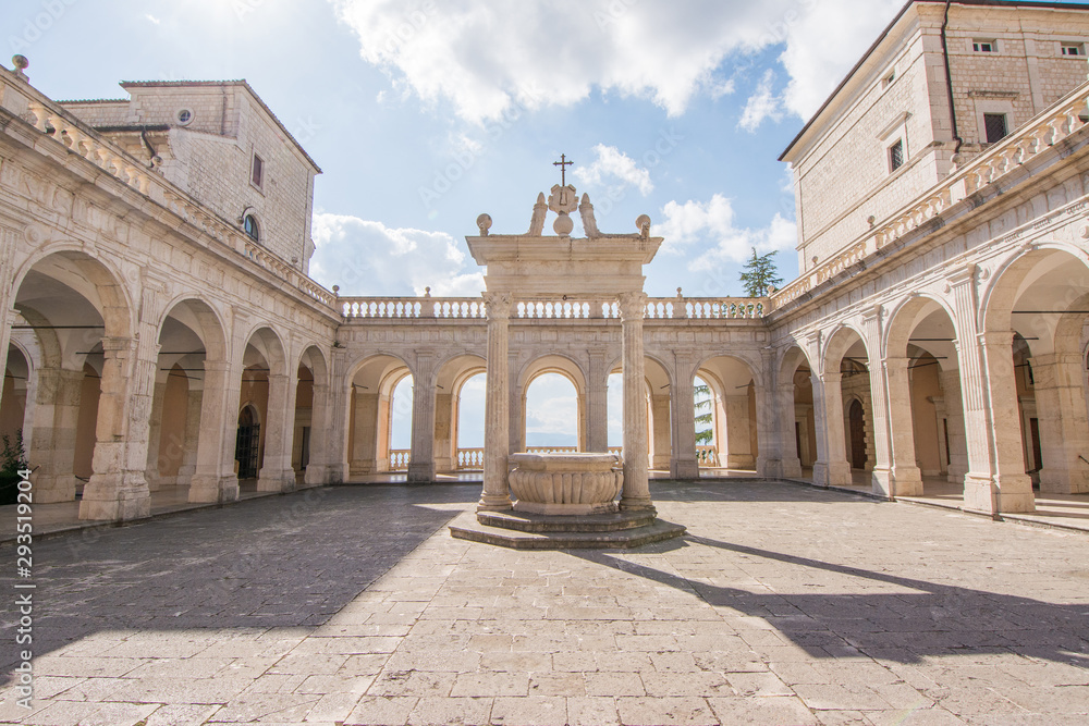 Fototapeta cloister and balcony of Montecassino abbey, rebuilding after second world war