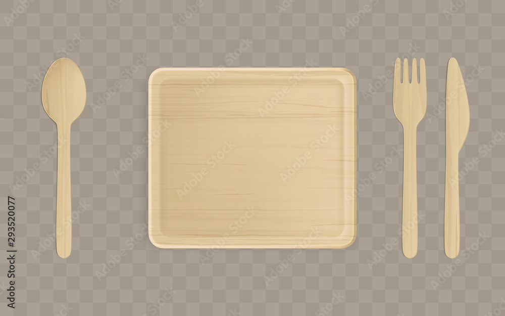Fototapety, obrazy: Disposable wooden plate, fork, spoon and knife top view, single-use tablewear isolated on transparent background, table setting, square dish of natural eco material. Realistic 3d vector illustration