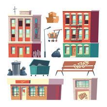 City Ghetto Buildings, Town Poor, Depressive District Architecture Elements Set. Gratifies On Houses Walls, Store With Grates On Windows, Trash Containers Cartoon Vector Illustration Isolated On White