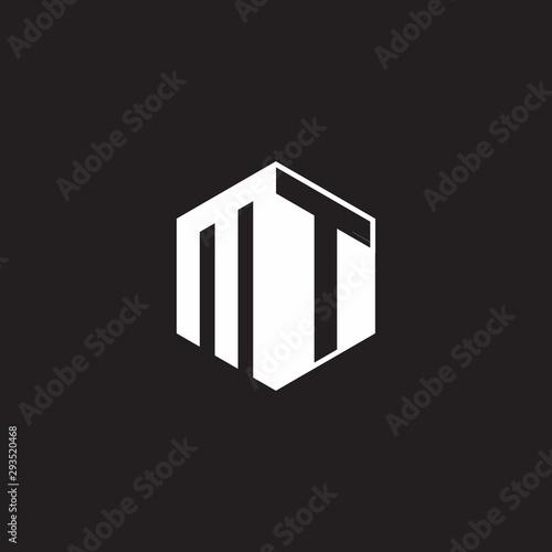 Obraz na plátně MT Logo monogram hexagon with black background negative space style