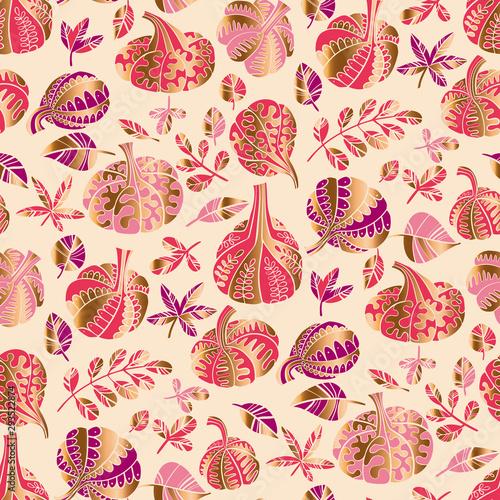 Fotomural  Glamor ornamental autumn pumpkin seamless pattern
