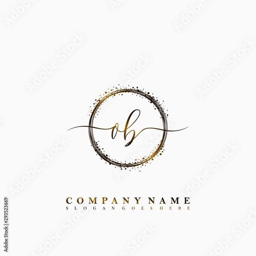 Pinturas sobre lienzo  OB Initial luxury handwriting logo vector
