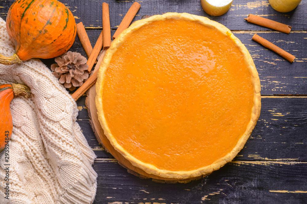Fototapety, obrazy: Tasty pumpkin pie on wooden table