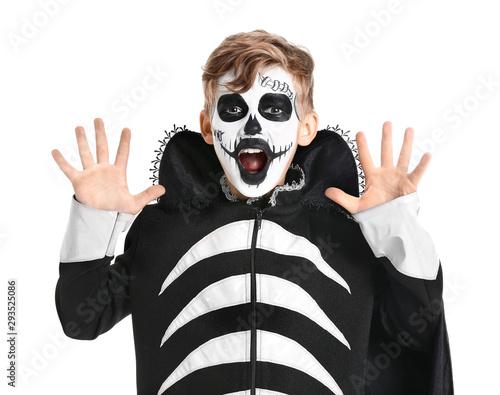 Fotografija Little boy in Halloween costume on white background