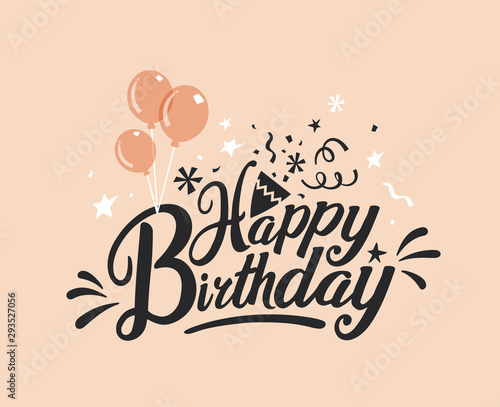 Foto Happy Birthday typography vector design for greeting cards and poster