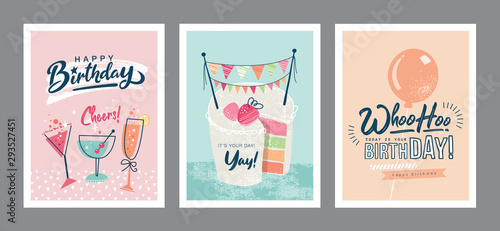Photo Set of birthday greeting cards design