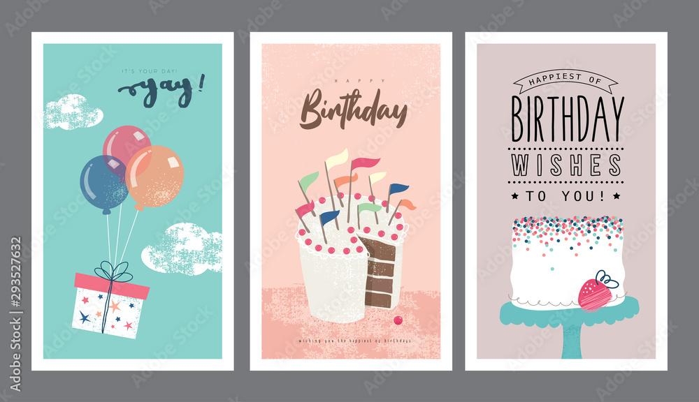 Zestaw projekt kartki urodzinowe <span>plik: #293527632 | autor: littleWhale</span>