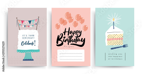 Set of birthday greeting cards design Tablou Canvas