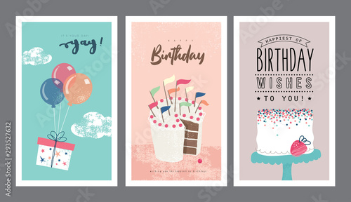 Cuadros en Lienzo Set of birthday greeting cards design