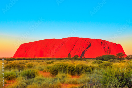 Foto auf Gartenposter Blau The red color of Uluru or Ayers Rock at sunset, the huge sandstone monolith in Uluru-Kata Tjuta National Park, icon of Australian outback or Red Centre. Australia, Northern Territory. Copy space.