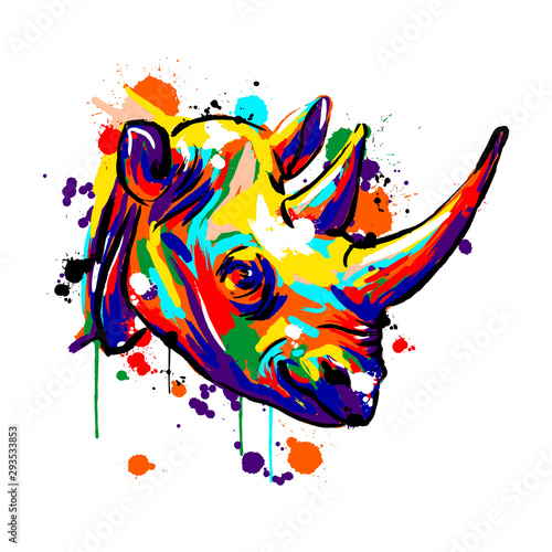 rhinoceros face, Savannah animals, rhinoceros colored, vector illustration Canvas-taulu