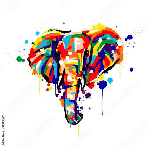 elephant color, brush strokes and splashes, elephant face, vector illustration Canvas Print