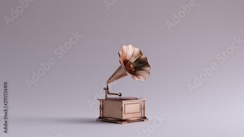 Cuadros en Lienzo Bronze Vintage Gramophone 3 Quarter Right View 3d illustration 3d render