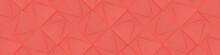 Wide Geometric Backgrond / Website Head In Living Coral Color. (3D Illustration)