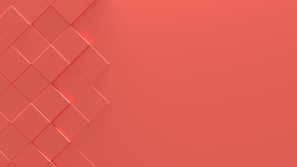 Living Coral Color Geometric Background With Copy Space (3D Illustration)