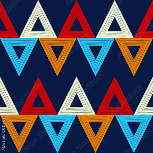 Foto auf AluDibond Boho-Stil Triangles. Ethnic boho seamless pattern. Lace. Embroidery on fabric. Patchwork texture. Weaving. Traditional ornament. Tribal pattern. Folk motif. Can be used for wallpaper, textile, wrapping, web.