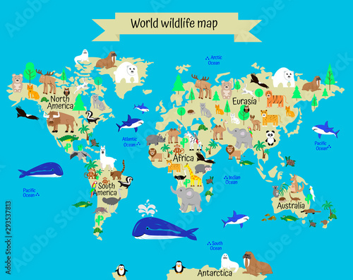 World wildlife map with animals and plants from different continents. geography for children. atlas of world with continents and oceans