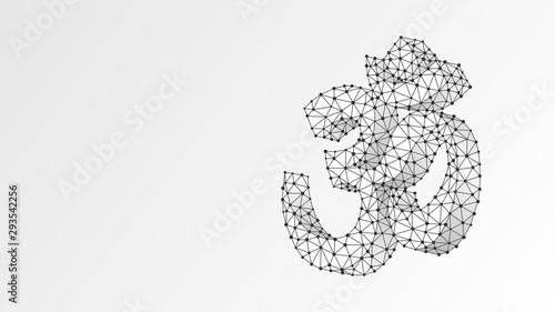 Om sign. Sacral symbol of Hinduism, Buddhism or Vedic tradition. Indian religion concept. Abstract, digital, wireframe, low poly mesh, Raster white origami 3d illustration. Triangle, line dot