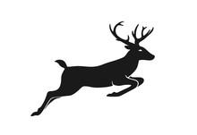 Deer Jumping. Element Of Christmas Design. Christmas Symbol. Isolated Vector Silhouette Image