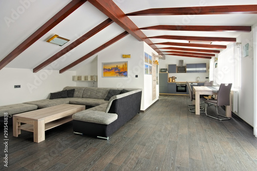 Fényképezés eine helle moderne Wohnküche - a modern open floor plan kitchen