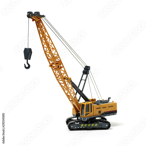 Toy crane on white background Wallpaper Mural