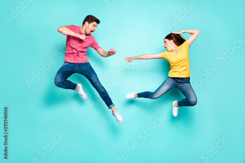 Photo  Full length body size view of nice attractive sportive crazy cool strong couple