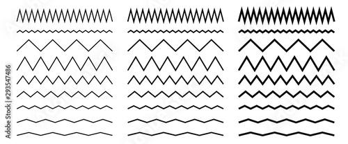 Photo Set of seamless wavy, zigzag line