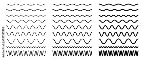 Set of seamless wavy, zigzag line. Graphic design elements for page decoration. Outline sign border element kit.  - fototapety na wymiar