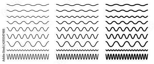 Set of seamless wavy, zigzag line Canvas Print