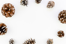 Top View Frame Christmas Pinecones With Snow Isolated On White Background, Copy Space