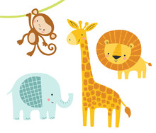 A Set Of Cute Jungle Animals With Elephant, Lion, Giraffe And Monkey. Funny Animal Characters. Kids, Baby Vector Illustration.