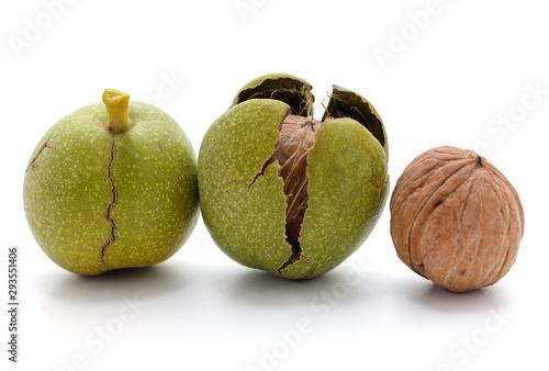 Three green nuts.