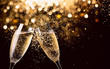 canvas print picture - Celebration toast with champagne