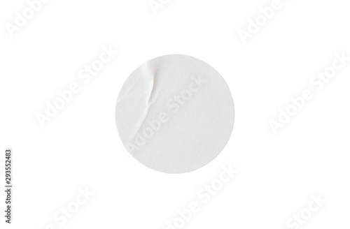 Valokuva  Blank white round paper sticker label isolated on white background with clipping